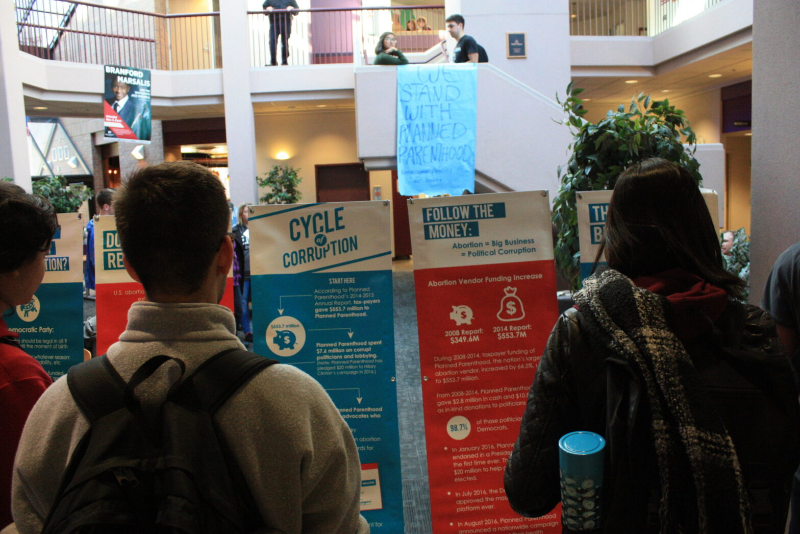 Students protest Whitworth Students for Life display