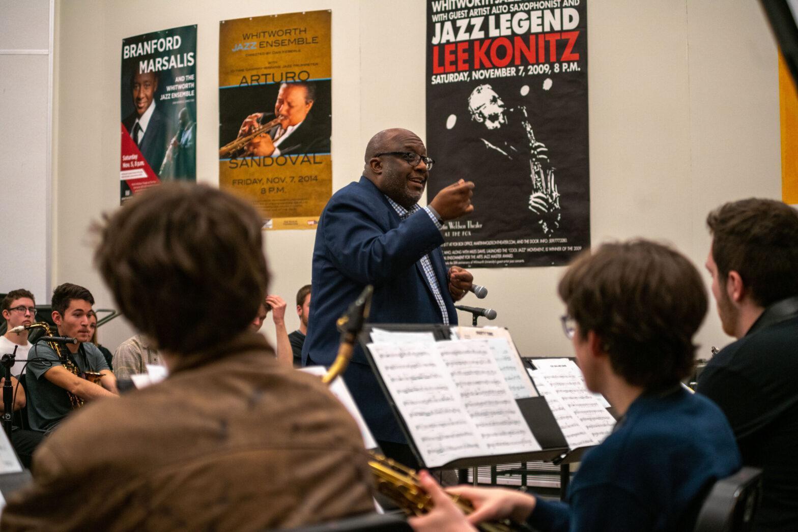 New York City jazz drummer Carl Allen works with Whitworth Jazz Ensemble
